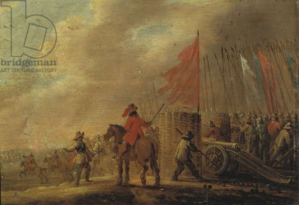 Battle scene with artillery, mid 17th century (oil on panel)