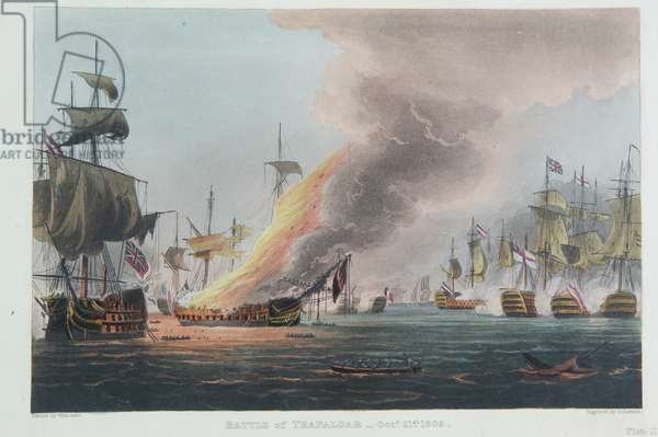 The Battle of Trafalgar, October 21st 1805, engraved by Thomas Sutherland for J. Jenkins's 'Naval Achievements', 1816 (colour engraving)