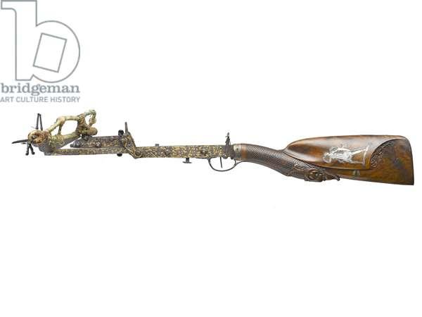 Bullet crossbow, by Christian Tricks, 1740 (wood & metal)