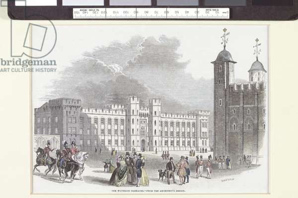 The Waterloo Barracks, from the architects design, 1831-70 (hand coloured engraving)