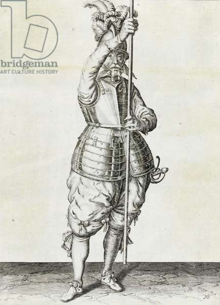 Pikeman, illustration from 'The Handling of Arms, Arquebuses, Muskets and Pikes', 1608 (engraving)