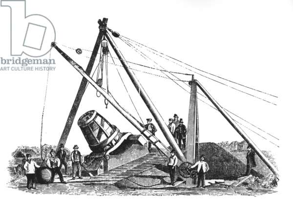 Mallet's Mortar being raised by a gyn (litho)