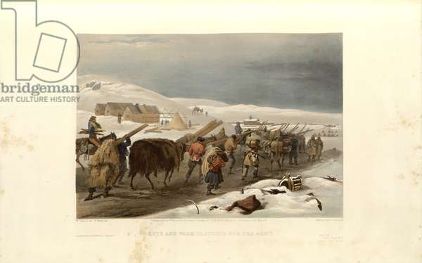Camp of the Naval Brigade before Sebastopol: Huts and Warm Clothing for the Army, engraved by E. Morin, c.1855 (litho)