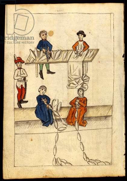 Plate from 'Feuerwerkbuch' Firework book showing the manufacture of gunpowder, c.1420 (parchment)