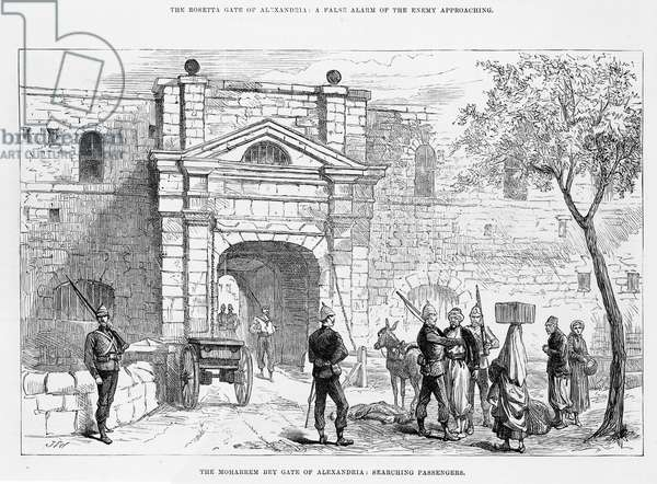 The Moharrem Bey Gate of Alexandria: searching passengers (engraving)