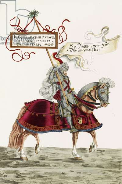 Mounted knight in jousting armour, illustration from a facsimile edition of 'The Young Ones' Tournament Book of 1529', 1910 (colour litho)