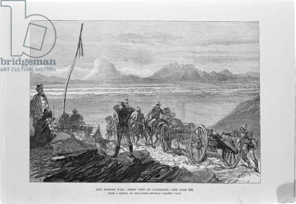 The Afghan War: First view of Candahar  (engraving)
