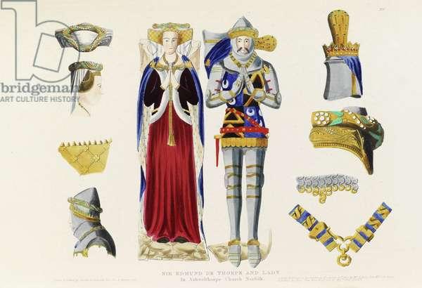 Effigies of Sir Edmund de Thorpe and Lady Thorpe in Ashwelthorpe Church, Norfolk, c.1817 (coloured etching)