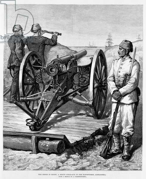 The Crisis in Egypt, a Krupp Field-Gun in the Earthworks, Alexandria, 1882 (engraving)