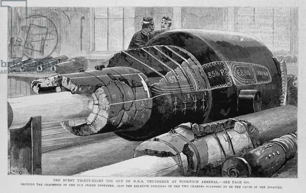 The burst thirty-eight ton gun from H.M.S. Thunderer at Woolwich Arsenal, December 1879 (engraving)