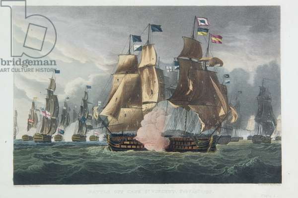 The Battle of Cape St. Vincent, February 14th 1797, engraved by J. Baily for J. Jenkins's 'Naval Achievements', 1816 (colour engraving)