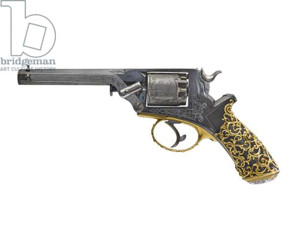 Percussion five-shot revolver, 1869 (ebony & gold)