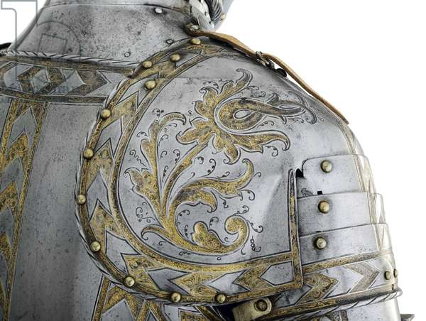 Detail of armour for field and tilt of a member of the Hirnheim family, South German, probably Augsburg, c.1550-60 (metal)