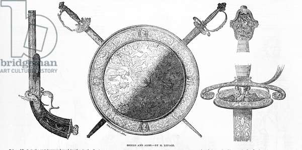 Shield and arms, by M. LePage (engraving)