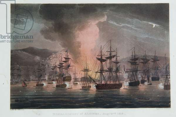 The Bombardment of Algiers, 27th August 1816, from 'The Naval Achievements of Great Britain' by James Jenkins, engraved by Thomas Sutherland (b.c.1785), published 1817 (colour engraving)