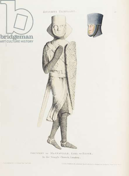Knights Templars: Geoffrey de Magnaville, Earl of Essex, in the Temple Church, London, 1812 (coloured etching)