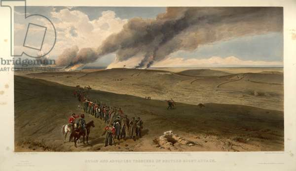 Redan and Advanced Trenches of British right attack, engraved by F. Jones, c.1856 (litho)