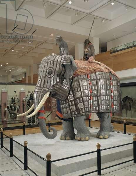Elephant armour, c.1600 (leather, steel, textile, brass & cotton)