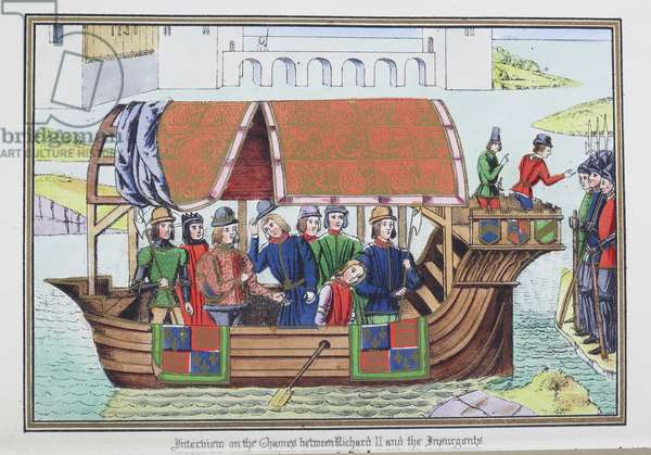 Illustration entitled, 'Interview on the Thames between Richard II and the Insurgents', 1869 (coloured engraving)