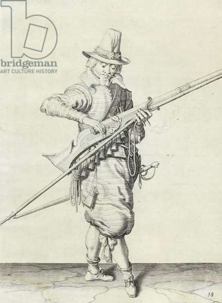 Musketeer, illustration from 'The Handling of Arms, Arquebuses, Muskets and Pikes', 1608 (engraving)