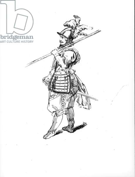 Drawing showing a 17th century pikeman, c.1840 (engraving)