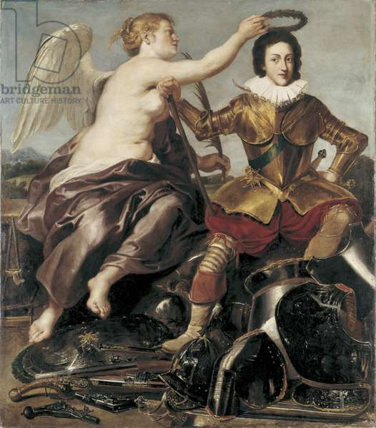 Portrait of Louis XIII crowned by Victory, early 17th century (oil on panel)