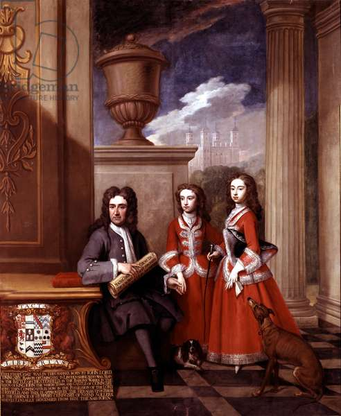 Portrait of Thomas Coningsby, Earl Coningsby, and his two daughters, with the Tower of London in the background, early 18th century (oil on canvas)