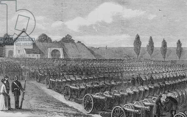 The Franco-Prussian War: Guns captured by the Prussians at Sedan (engraving)
