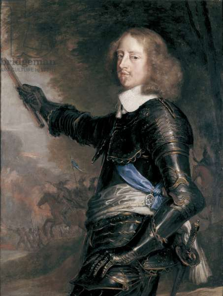 Portrait of George Digby, Earl of Bristol, dresed in cuirassier armour, mid 17th century (oil on panel)