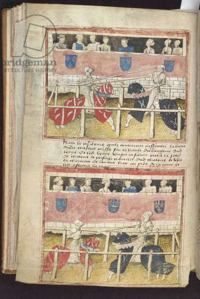 Manuscript showing a joust between Jean Chalons and Loys de Beul at Tours in 1446, mid 15th century (pen & ink and tempera on vellum)