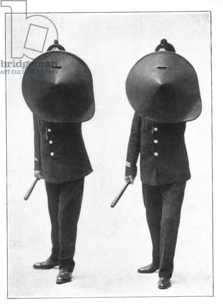 Ready to Charge - Two policemen with riot shields, 1912 (b/w photo)