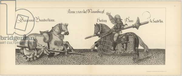 Illustration of knights jousting at tournament. Page 13 from Der Sachsischen Kurfursten Turnierbucher by Erich Haenel, 1910 (engraving)