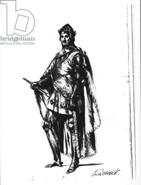 An early 14th century knight, labelled 'Warwick', c.1840 (engraving)