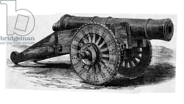 A piece of Russian artillery captured during the Crimean War (engraving)