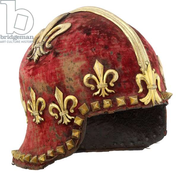 Sallet, northern Italy, 1470 (metal, gilt bronze, velvet & silk)