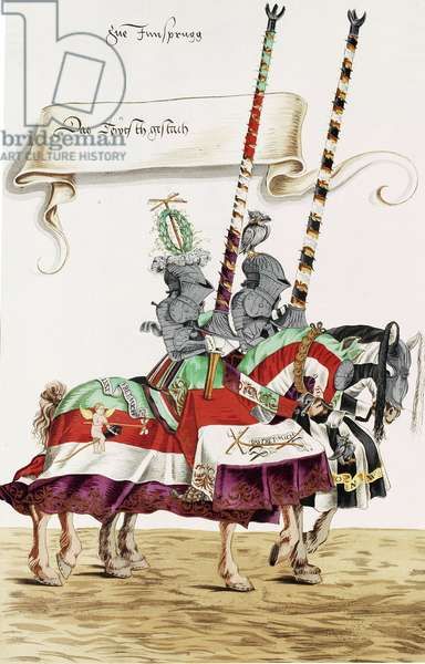 Two knights in jousting armour (Gestech) and armed with lances, illustration from a facsimile edition of 'The Young Ones' Tournament Book of 1529', 1910 (colour litho)