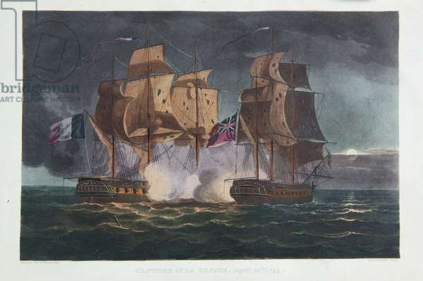 Capture of La Gloire, April 10th 1795, print made by Thomas Sutherland, from 'The Naval Achievements of Great Britain, From the Year 1793 to 1817', by James Jenkins, first published in 1817 (colour engraving)