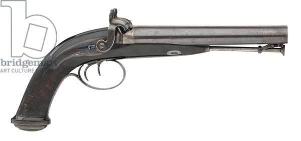 Percussion double barrelled pistol by J.Purdey, 1830 (metal)