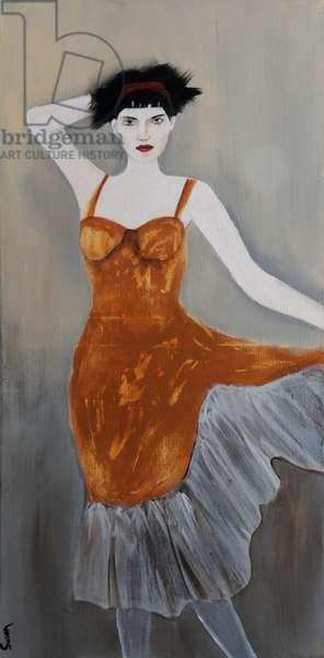 Danseuse in Burnt Orange, 2016, (acrylic on canvas)