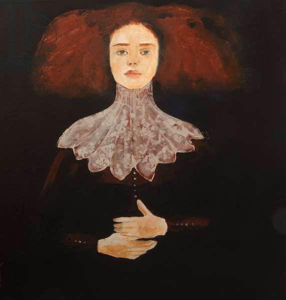 Redhead in Lace, 2016, (acrylic on canvas with ageing varnish)