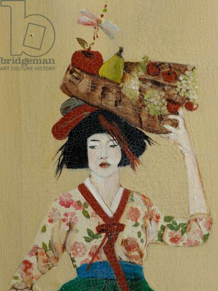 Korean Women with Basket of Fruit, 2016) (acrylic on canvas) detail