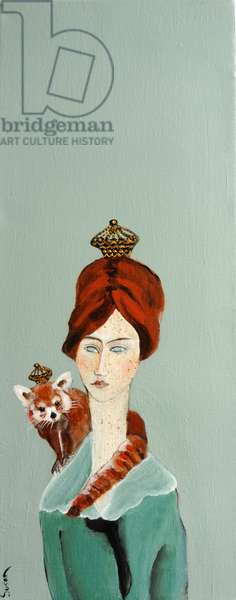 Redhead with Red Panda, 2016, (acrylic on canvas)