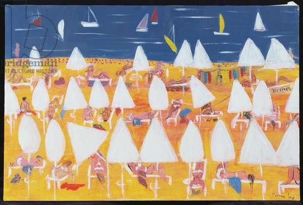 White sun umbrellas, 2004 (acrylic on canvas)