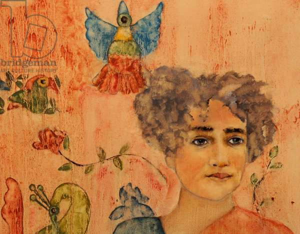 Arundhati Roy, 2017, (oil and acrylic on canvas) close up