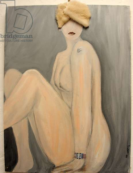 Seated Nude with Pink Hat 2004 (acrylic on canvas)