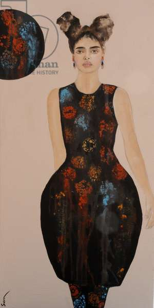 Fashion 13, blossom on black, 2016, (acrylic on canvas)