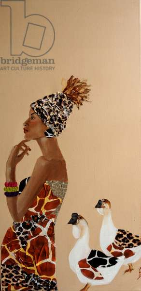 African Woman with African Geese, 2016,(acrylic/collage on canvas)