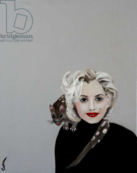 Marilyn with Quoll, 2016, (oil and Acrylic on canvas)