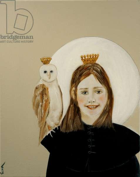 Matilda with Owl, 2017, (acrylic and oil on canvas)