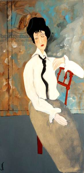 Modigliani Woman with White Blouse, 2016, (acrylic on canvas)